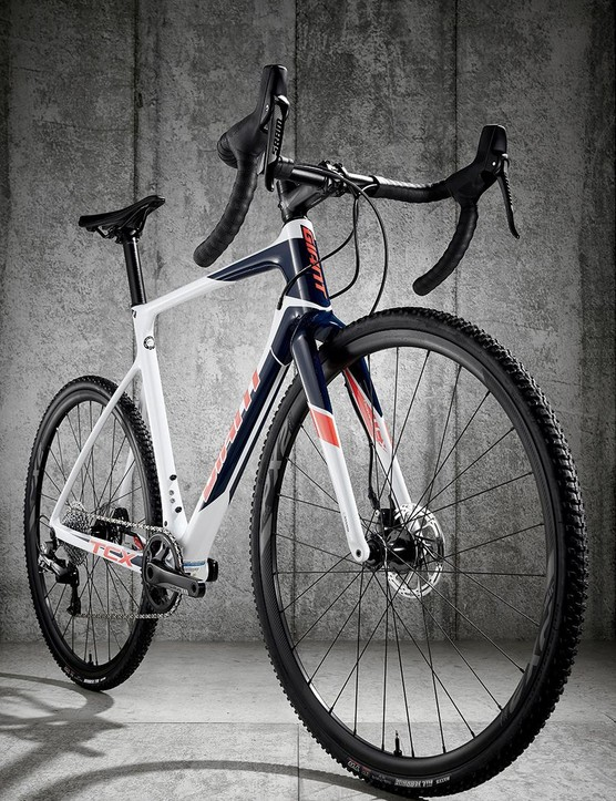 Giant's broad-shouldered carbon fork looks purposeful, and has immense accuracy