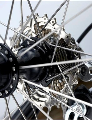 Dependable crossed rear spokes and the hubs can be serviced using basic cycle tools