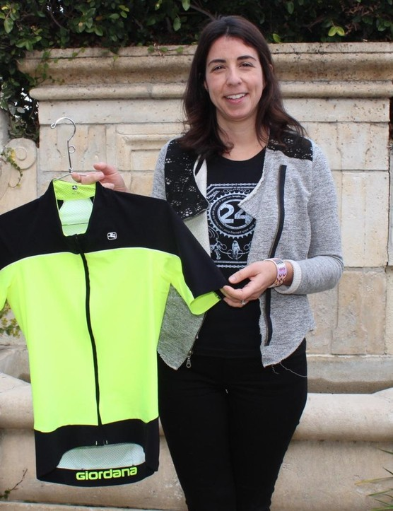 Giordana Andretta and the new NX-G jersey of her namesake company