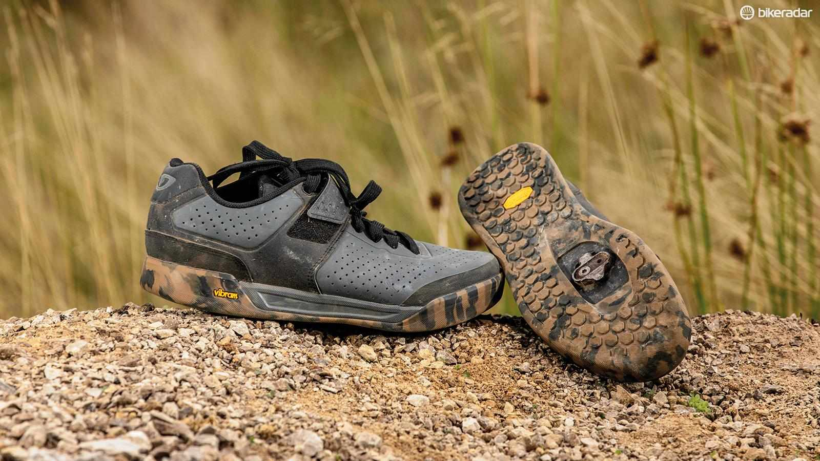 The wide camo-print sole and toe bumper fend off knocks nicely
