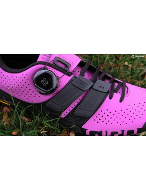 Giro claims the Techlace system offers the comfort of laces with the easy adjustment of Velcro straps
