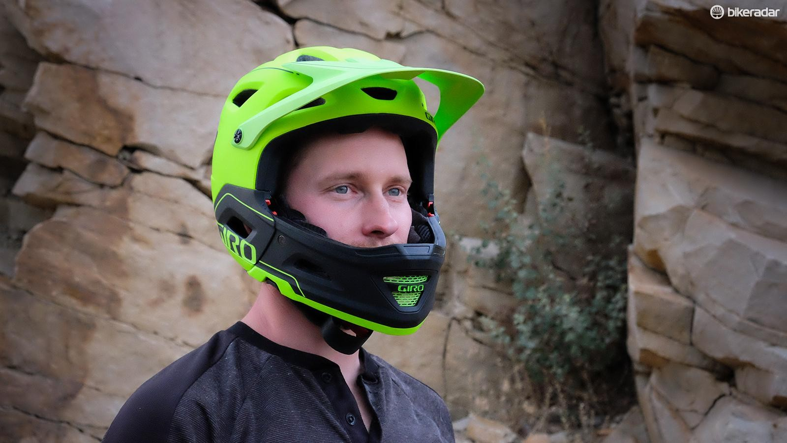 Giro's new Switchblade is a full-face first and a half-shell second. The helmet passes the ASTM-1952-DH standard with and without the chin bar installed