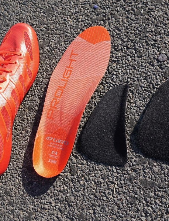 The shoes come with two insoles: a thin option and then Giro's SuperNatural Fit Kit which has three different arch supports that attach underneath