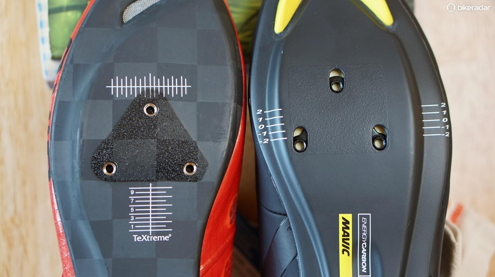 Giro's cleat mounts are 1cm closer to the heel than most shoes. On the Prolights, Giro foregoes any fore/aft adjustment to keep weight down