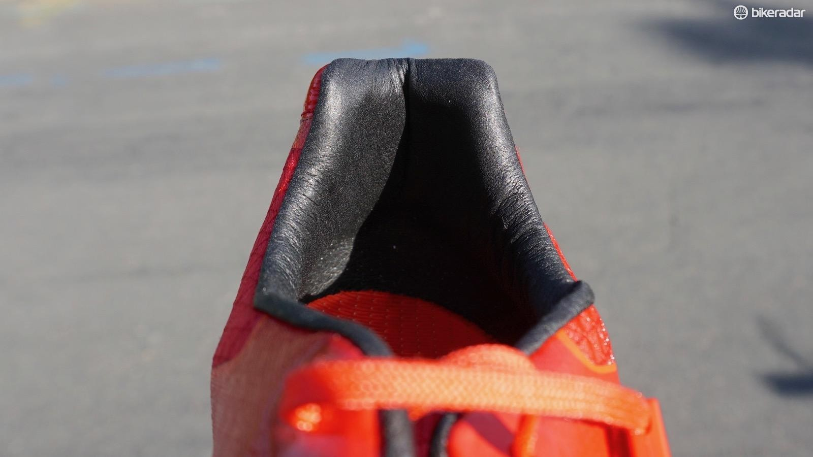 The padded heel counter is comfortable and malleable. Some riders may like it; others may prefer something with a more rigid structure