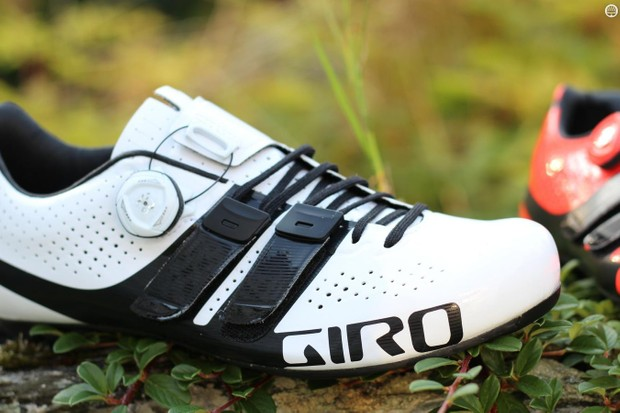 The Giro Factor Techlace employs a unique lacing system anchored in Velcro tabs, plus a Boa dial