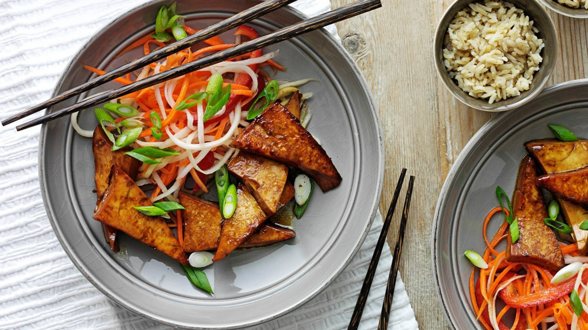 The sweetness of the tofu works perfectly with the crunchy freshness of the vegetables