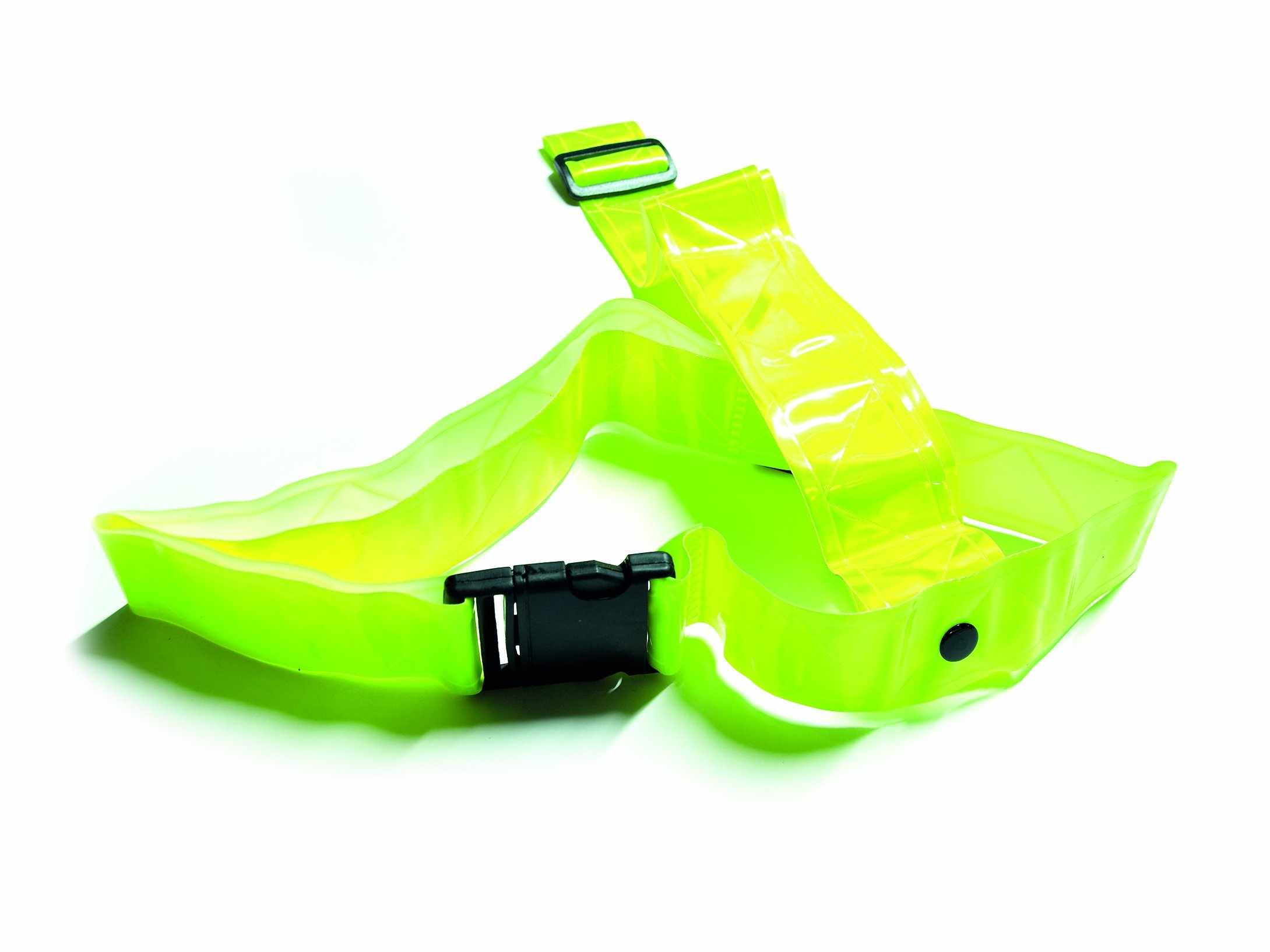 The safety belt includes two light strips for additional visibility.