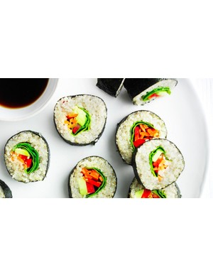 Tasty and meat free sushi — perfect for a pre-prepared evening meal, post-ride packed lunch, or just a healthy snack