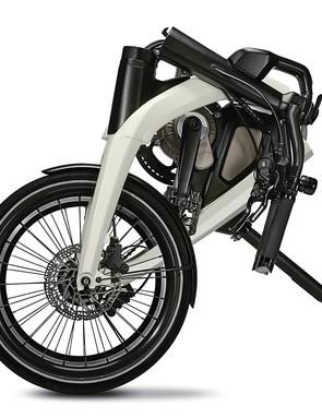 The GM e-bike looks to fold compactly