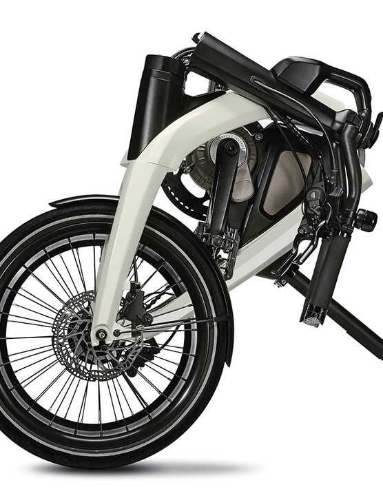 The GM e-bike looks to fold compactly