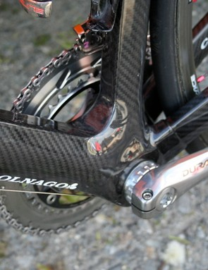 The seat and down tubes meet in a well-reinforced bottom bracket area to create what is reputedly the stiffest Colnago yet.