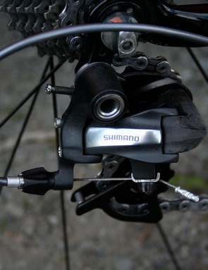 Shimano finally admits to ownership of this prototype rear derailleur by adding a simple decal.