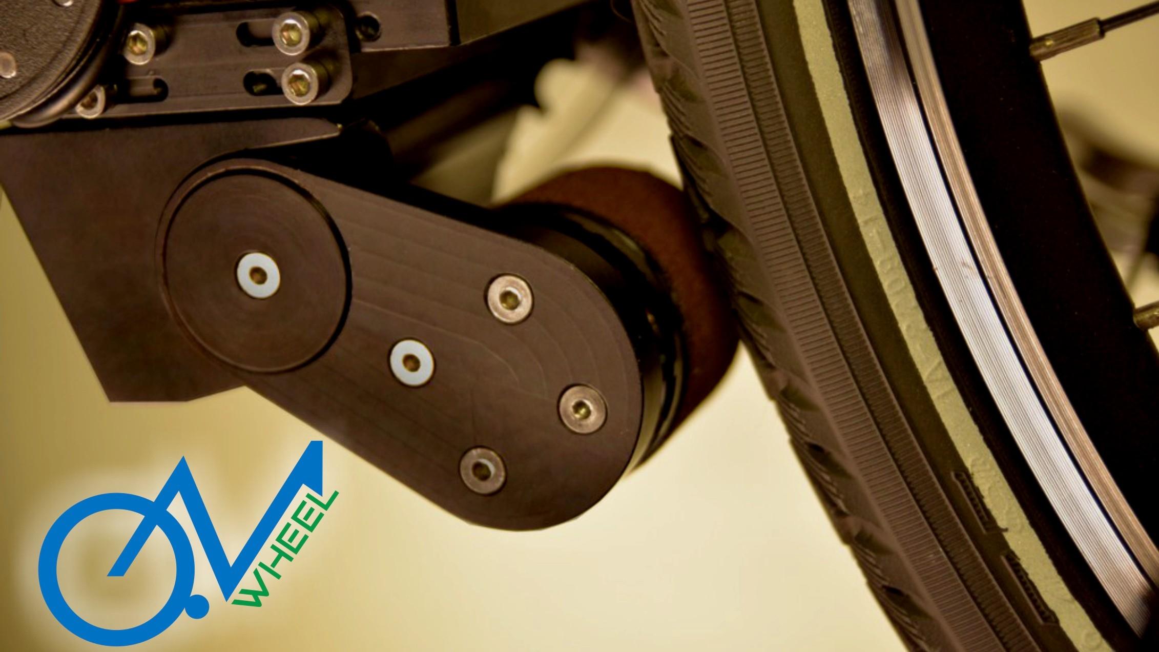 The go-e ONwheel powers your rear wheel via friction from underneath