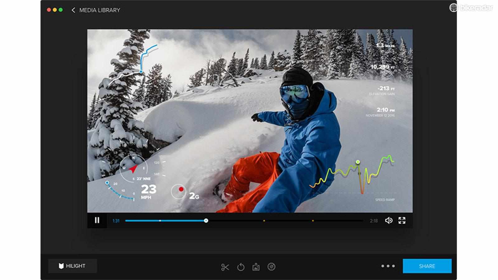 GoPro Hero 5 Black owners now have the option to display data from activities when editing footage with Quik