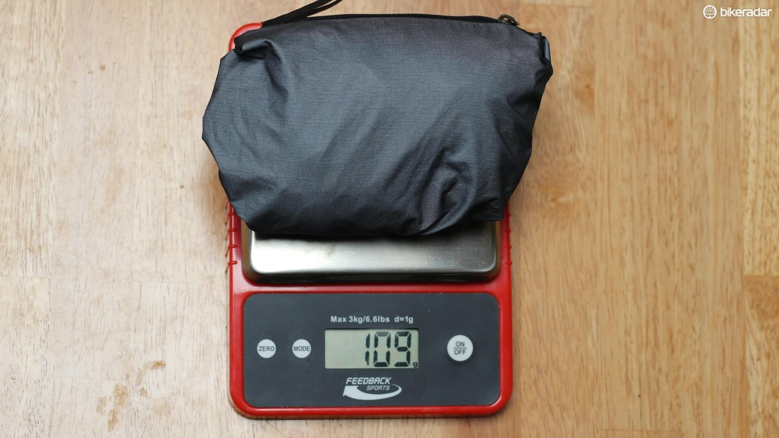The Gore One jacket weighed 109g for a size large on our scales