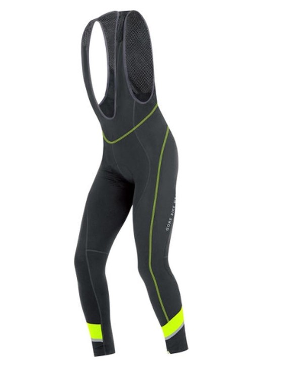 The GORE Power bib tights have reflective and fluoro highlights to help you stay visible on the roads
