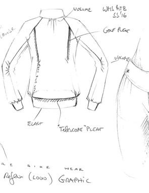 Sketches by the design team drawn while developing the Gore Power Trail Lady range