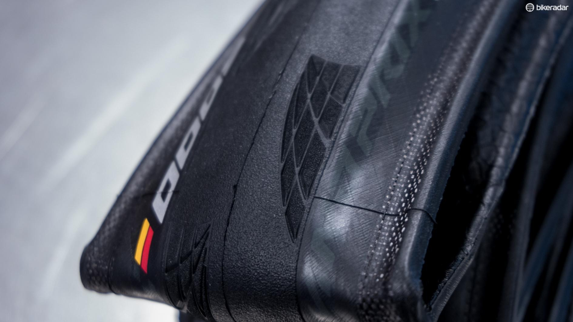 The shoulder tread of the tyres are given a laser treatment to improve grip