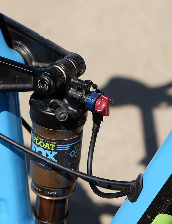 Since the bike has a 1x drivetrain, the front shift lever was repurposed to lockout the shock