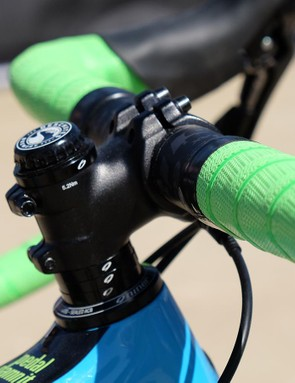 Reach on mountain bikes is much longer than road bikes, so a stubby stem keeps the numbers in check