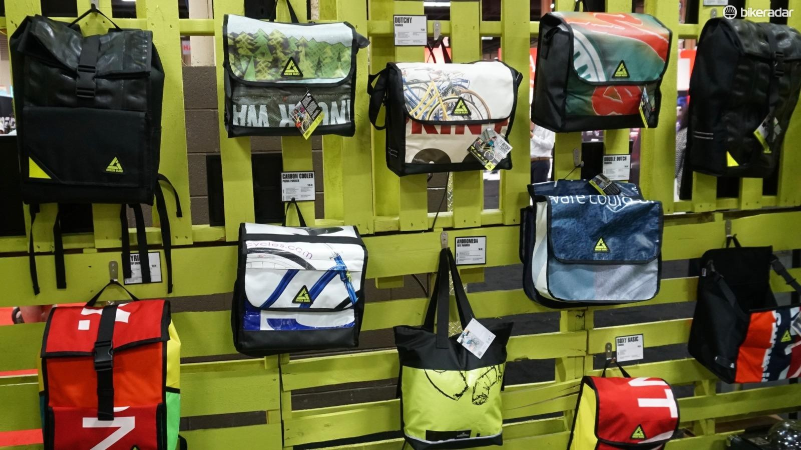Last year after Interbike, Green Guru took the used signage from the exhibition hall and remade it into packs