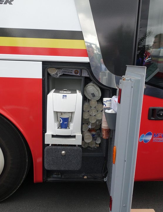 Not necessarily for Greipel, but Lotto-Soudal's team bus has a well-placed coffee machine. Especially handy for a last-minute staff or rider pick-me-up