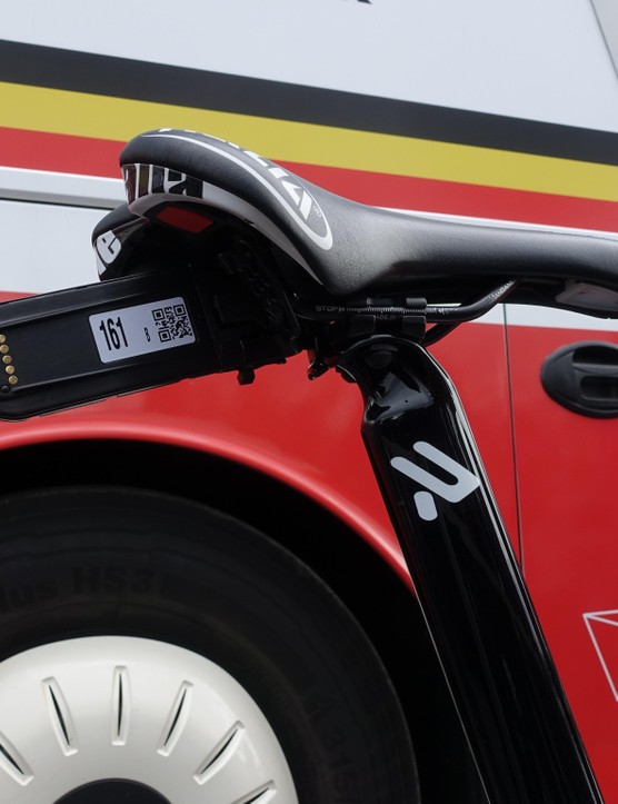 Like all race bikes, Greipel's is equipped with a transmitter than enables live on-bike feeds once a camera is installed