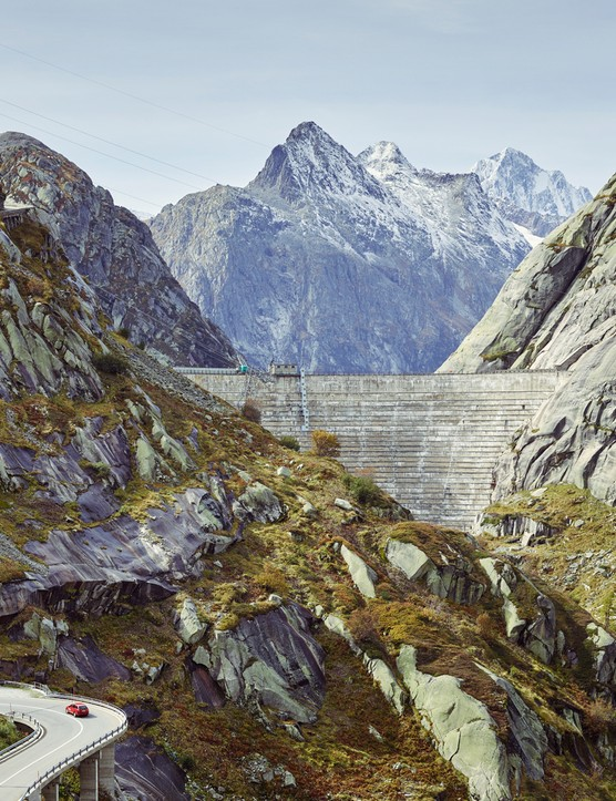 The Grimsel pass wins through granite mountains past two huge reservoirs