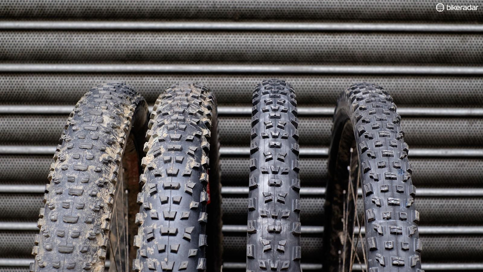Specialized's 3in Purgatory/ Ground Control tires (left) were used throughout our experiment; we used the same tread pattern in 29x2.3in for trail 1 and 2, as well as for a roll-down test