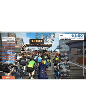 Group workouts combine the social elements of Zwift with the specific training of individual workouts