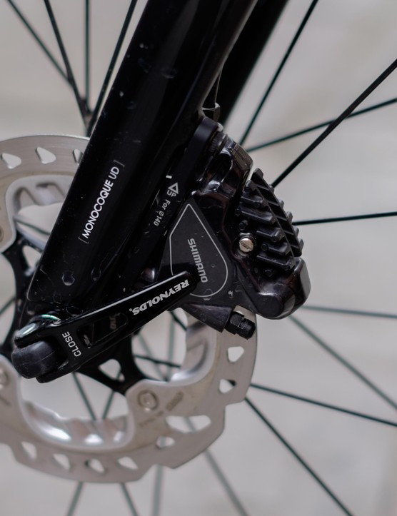 The front brake hose is neatly routed down the fork leg
