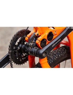 The square-taper cranks and bottom bracket are an obvious casualty of the cost of a full-sus frame