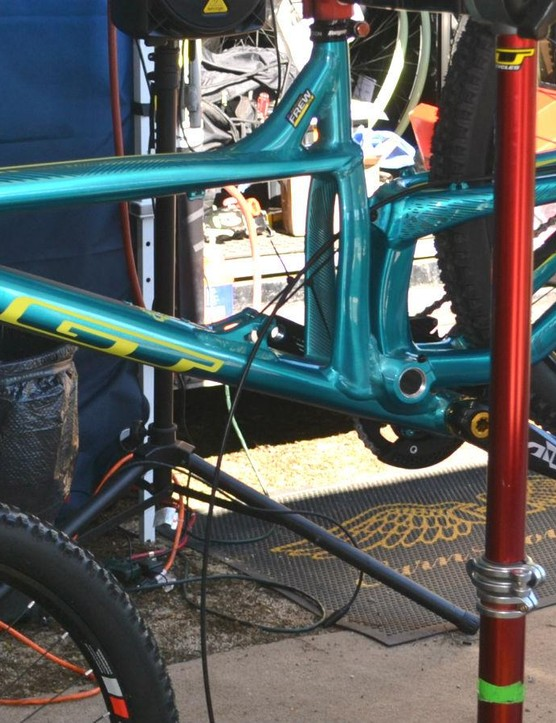 Jackson Frew's GT Distortion gets new brake lines before taking on the pro dual slalom at Sea Otter