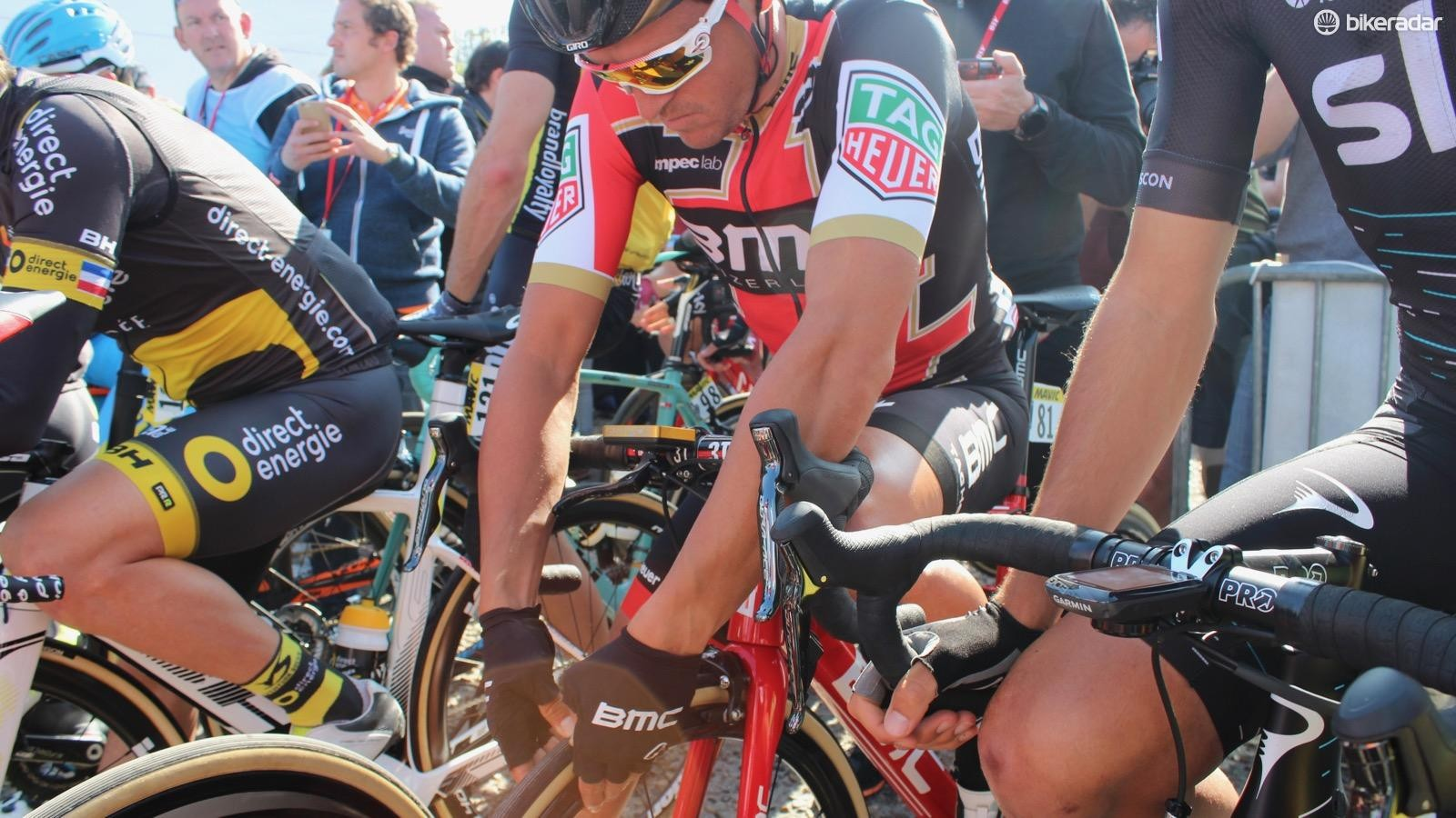 Van Avermaet began the day aboard his #1 bike. Like so many riders, he checked and double checked his air pressure before starting off from Compiegne