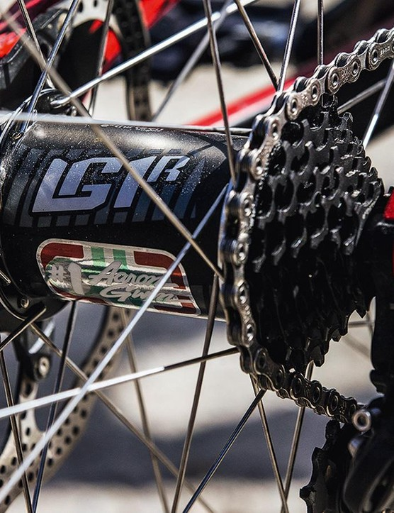 Gwin rolls on stock e*thirteen LG1r carbon wheels fitted with a massive seven-speed rear hub
