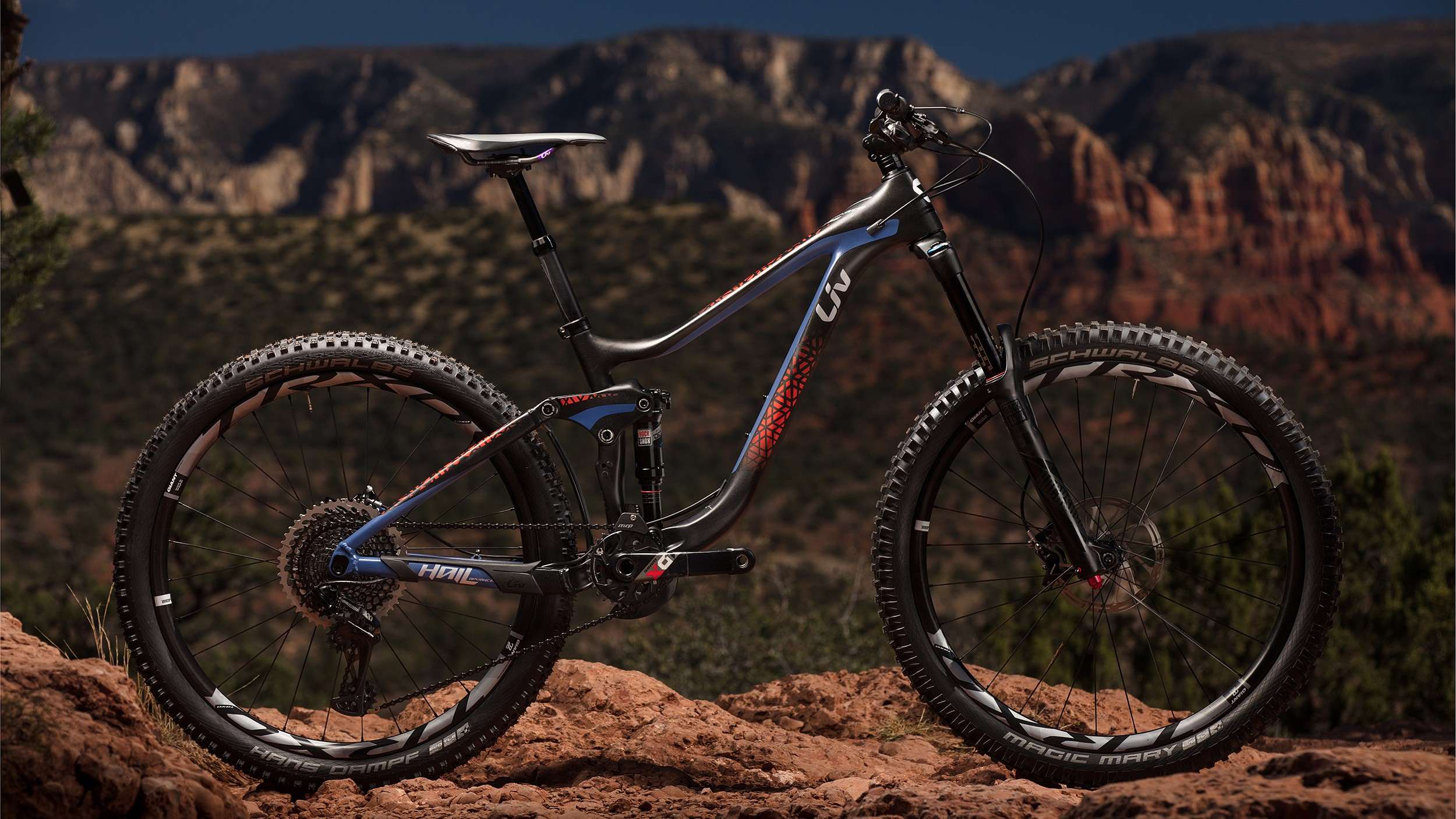 The Liv Hail, a 160mm travel, full-suspension, fully women's specific enduro bike