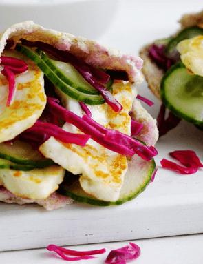 We love the fresh crunch of veggies when you bite into this tasty halloumi pitta