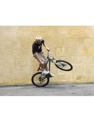 A wheelie turn is as useful for a quick turnaround in a back street as it is if you find yourself in a singletrack cul-de-sac
