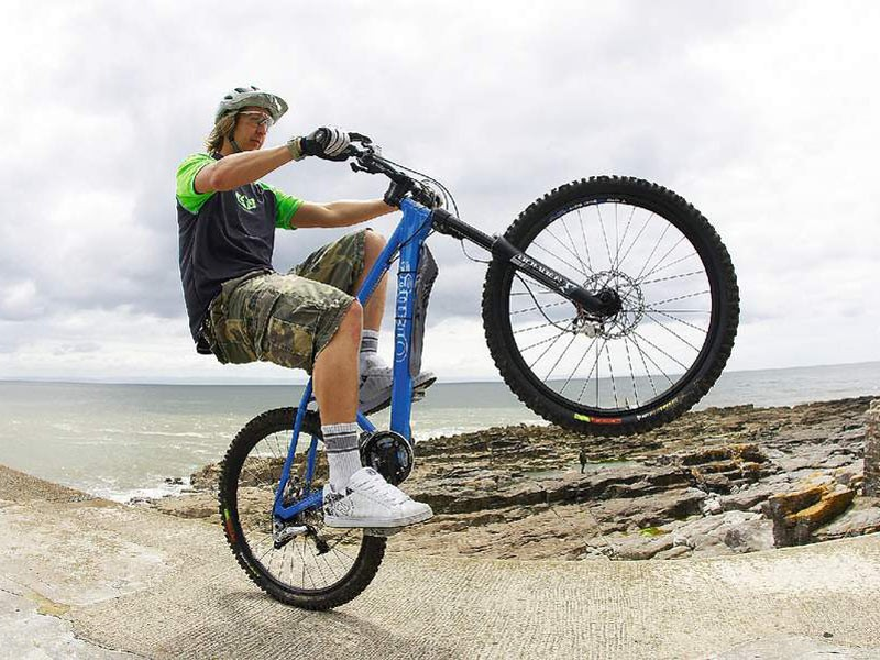 It's not just a technique for having bets with mates – the wheelie can be used to loft the front wheel clear of puddles and other trail obstacles.