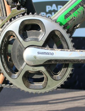 Hayman swapped the 39t inner ring for a 44, with the long, rough race being nearly pancake flat