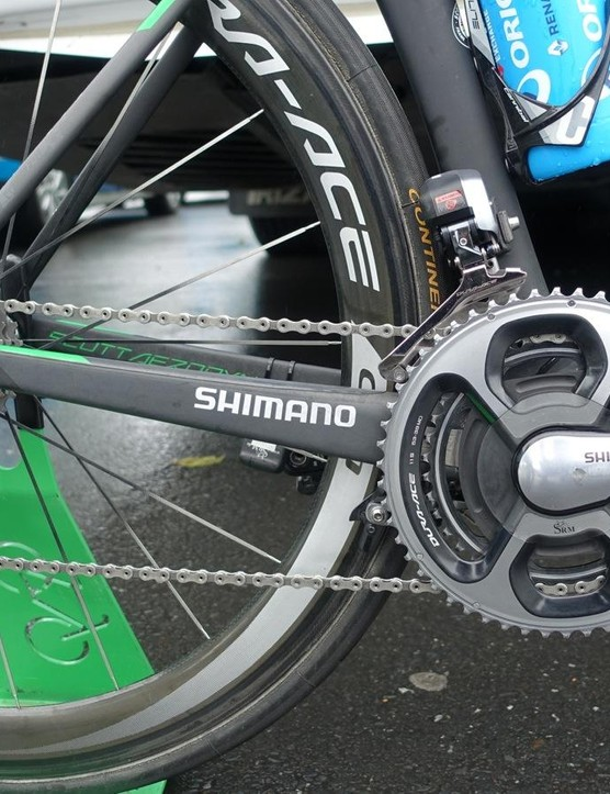 Hayman has a high-end but straightforward drivetrain set-up, with Shimano Dura-Ace Di2 and an SRM