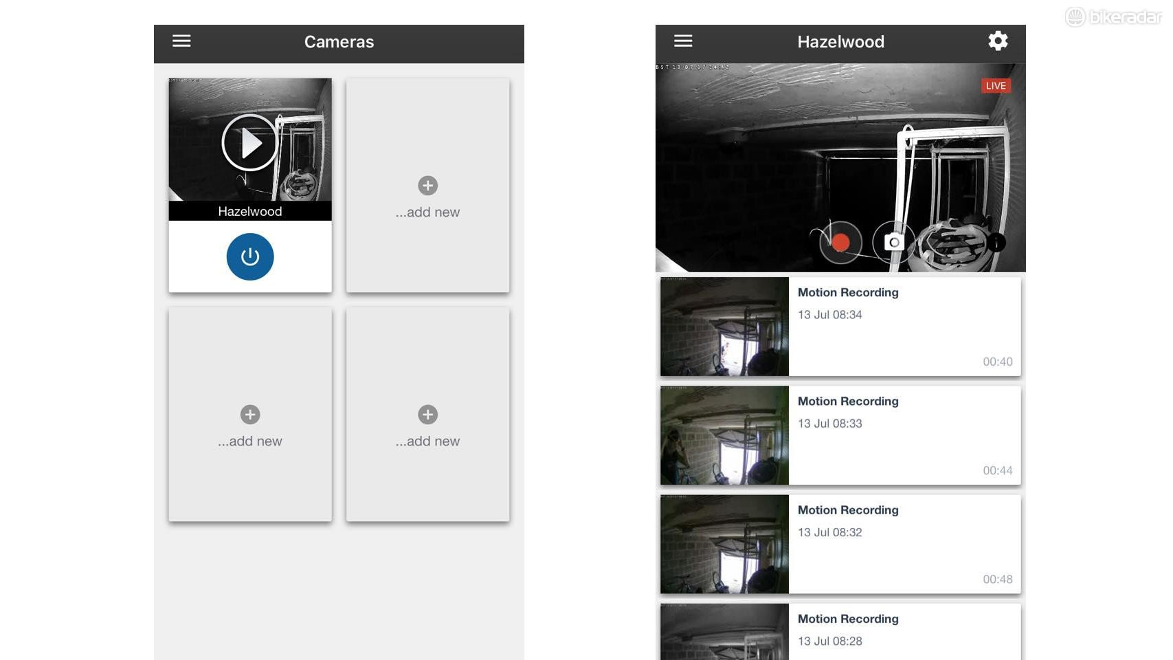 This screenshot displays the app's ability to run up to four cameras (L) while recordings are stored in chronological order and saved for a week (R)