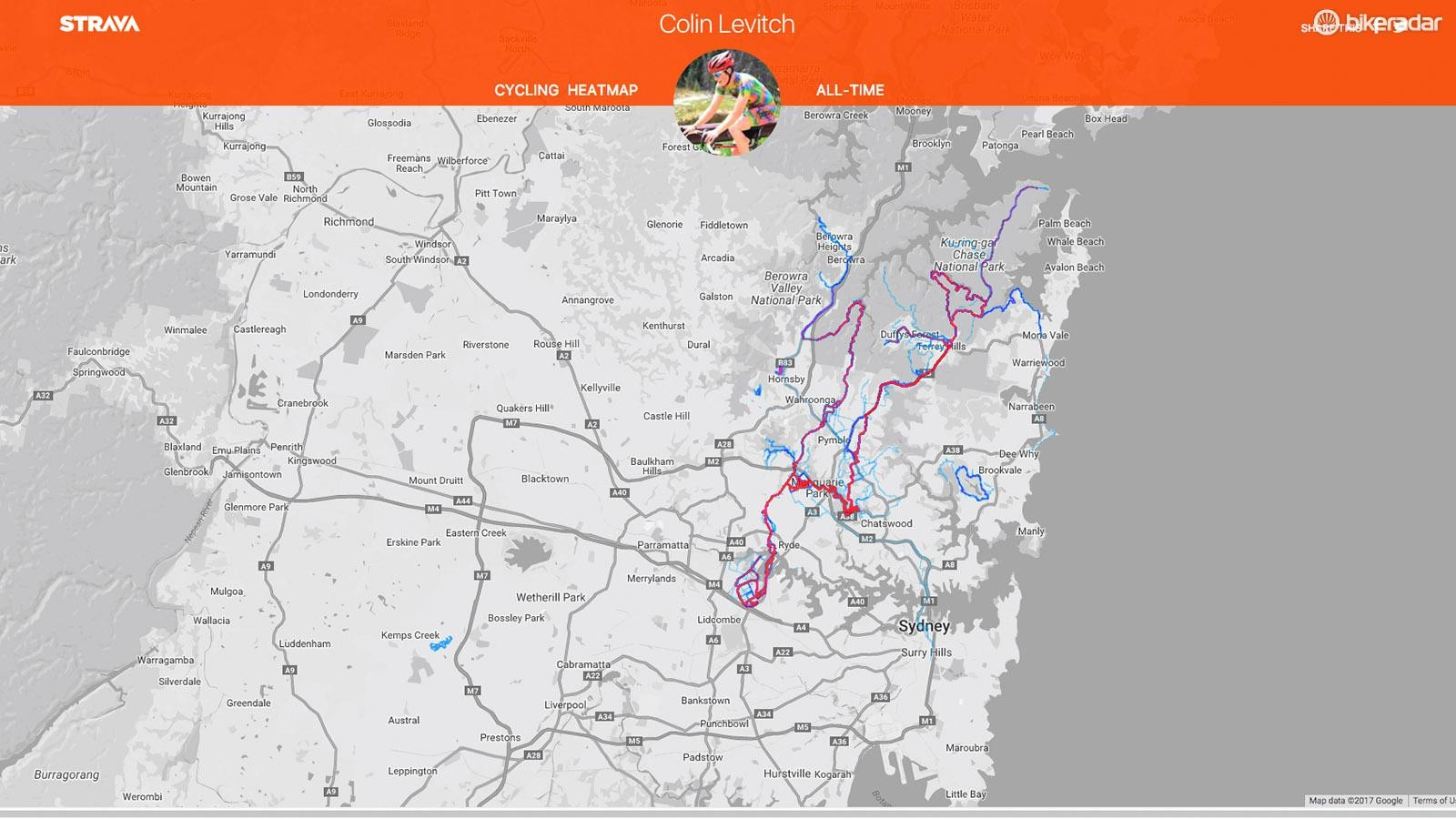 Strava Premium users can generate a personal heat map, here's mine from when I lived in Sydney