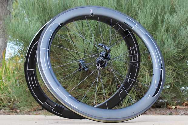 The HED Jet 6 Black wheels are clinchers with machined alloy brake tracks and carbon fairings for a total rim height of 60mm