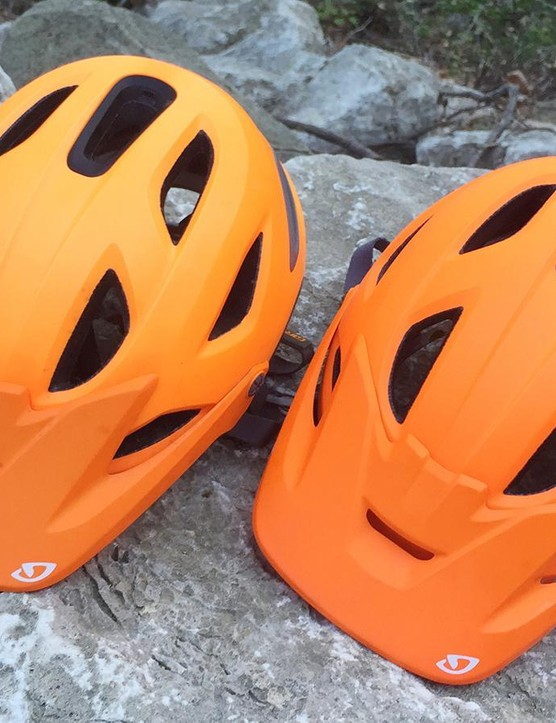 The high viz 'Matte Flame' colourway, is prone to fading. The helmet at on the left faded significantly after four days of riding in bright sunlight.
