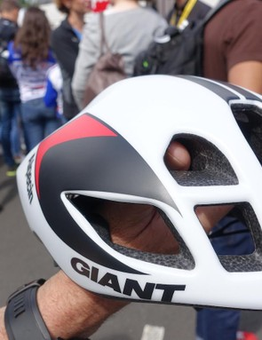 Giant product managers were on hand to help fit the new helmet for the riders. Large front vents provide ventilation
