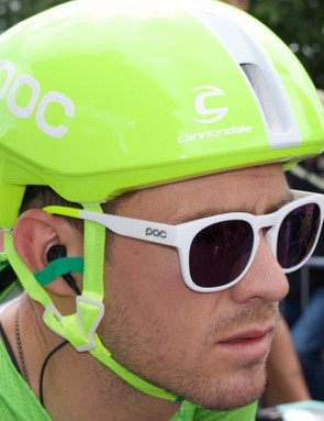 American Alex Howes featured in the Tour's first breakaway wearing the special edition POC Octal Aero and pair of coordinating Require sunglasses.