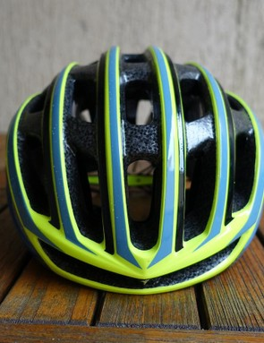 From the front, the helmet appears narrower, with thinner sides