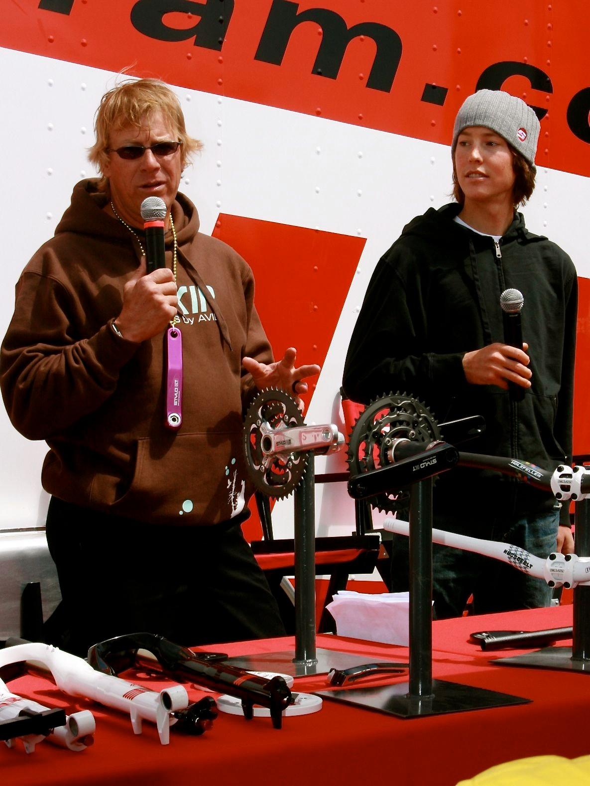 SRAM talking head Greg Herbold and cross country racer Sam Schultz.
